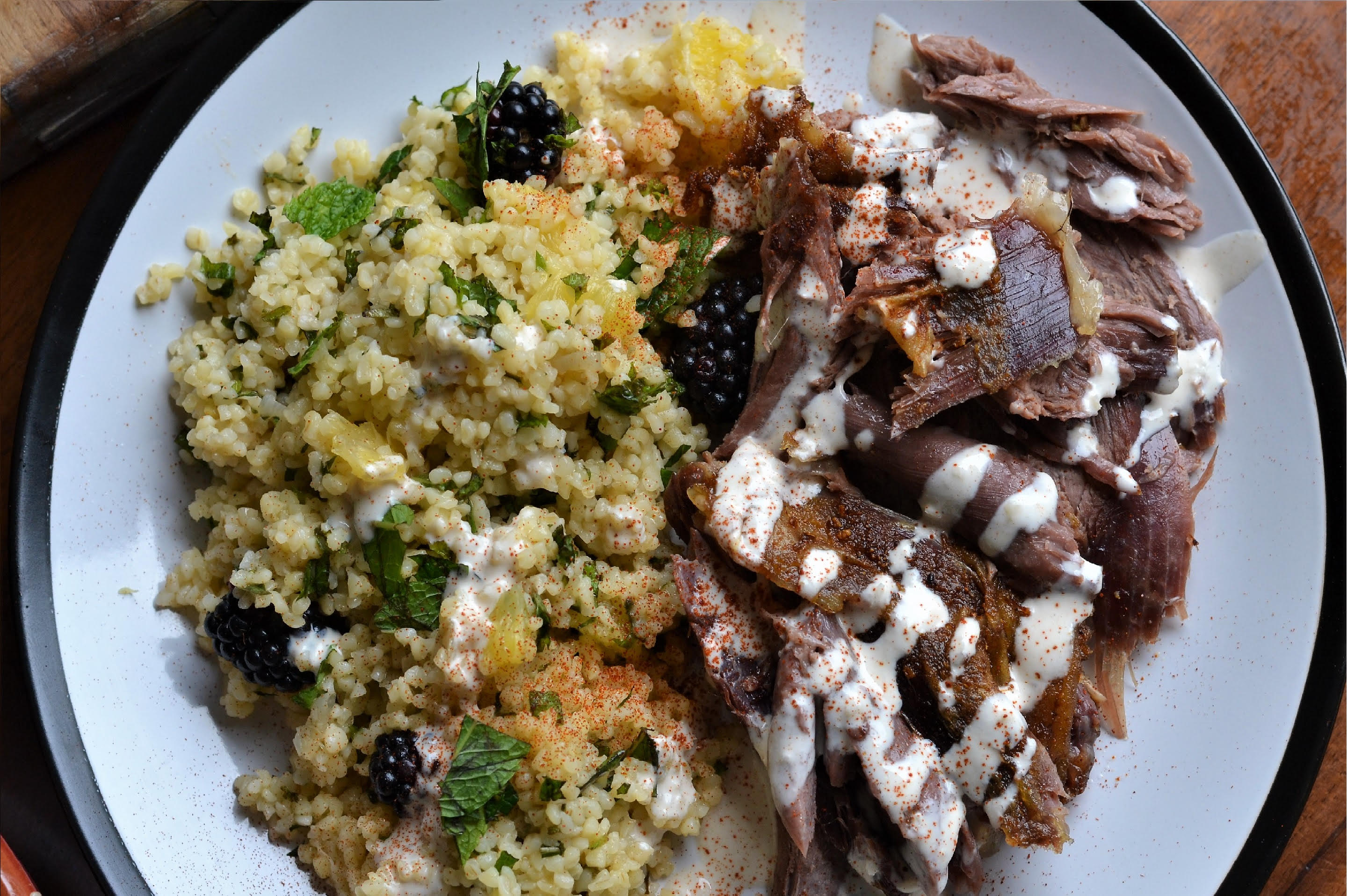 Slow Roasted Leg of Goat with Mint Couscous and Tahini