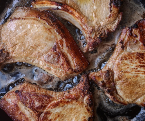 Richard H. Turner's Grilled Cider-Brined Pork Chops with Mustard Sauce