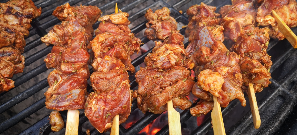 Pinchos morunos with Cabrito goat meat