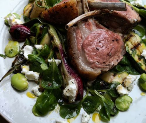 French trimmed rack of lamb with grilled courgettes, red salad onions, broad beans and goats cheese